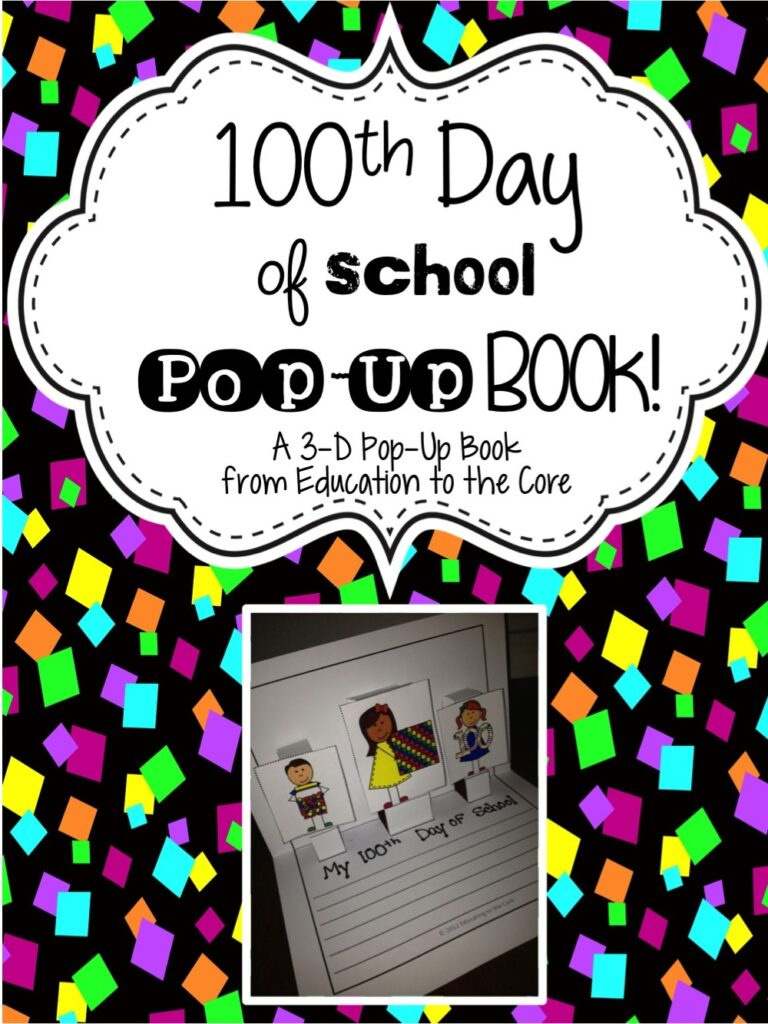 100th Day of School Pop-Up Book and FREEBIE!
