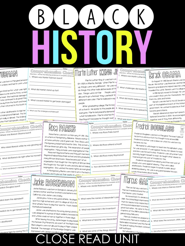 Black History Close Reads, Comprehension Passages, and a FREEBIE!