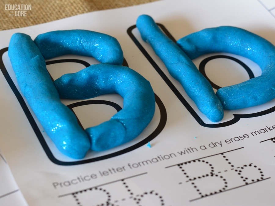 Printable Alphabet Mats with Neon Glitter Play Dough!