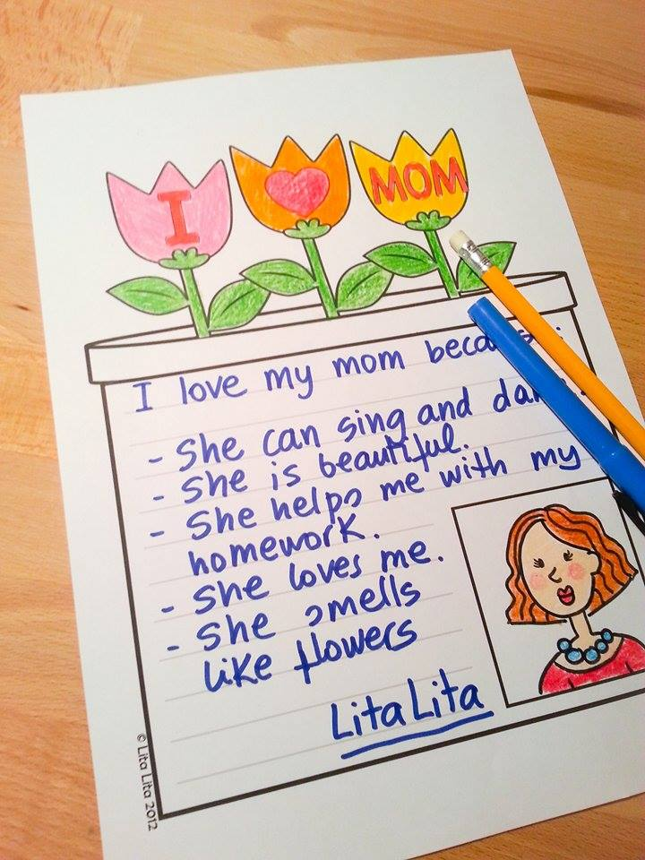 I Love My Mom Printable from Lita Lita Learning in Spain