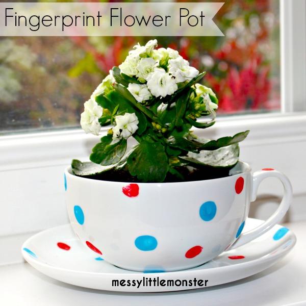 Fingerprint Flowerpot from Messy Little Monster