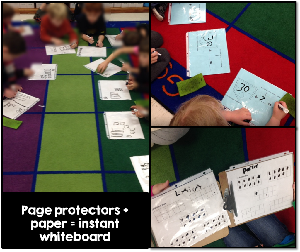 Page protectors + paper=Instant Whiteboard!