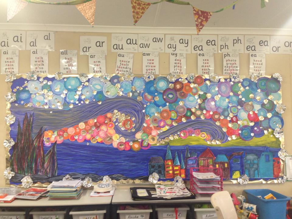 29 bulletin board ideas for teachers starry night inspired bulletin board by nyree s altavistaventures