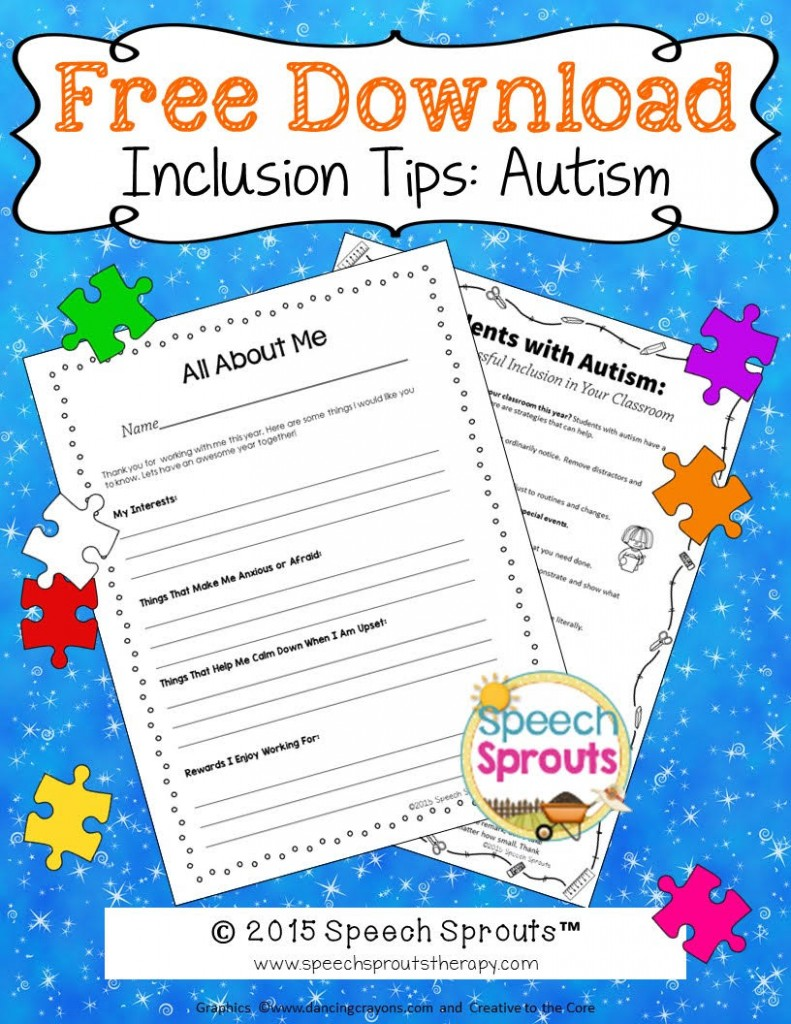 Free Inclusion Tips Freebie from Speech Sprouts