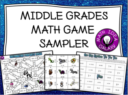 FREE Middle Grades Math Game Sampler