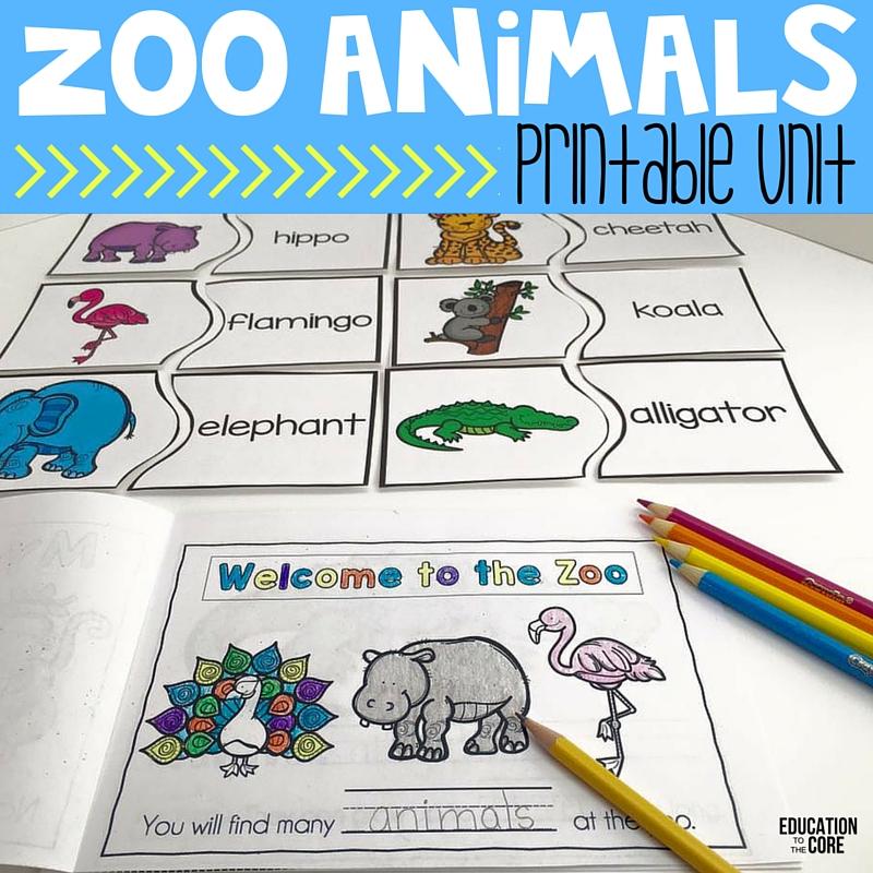 Zoo Animal Printable Unit