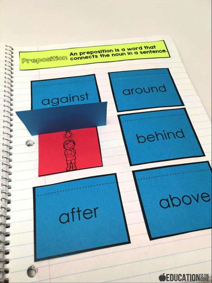 Prepositions Interactive Notebooks