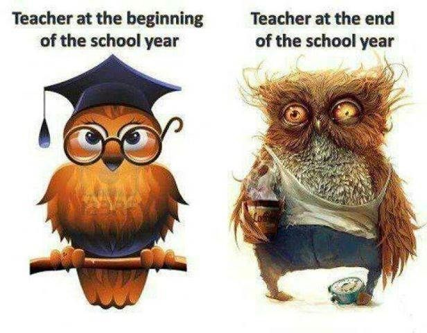 Teacher at the beginning of the school year and teacher at the end of the school year.