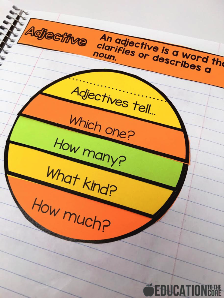 Adjectives Interactive Notebook Activity