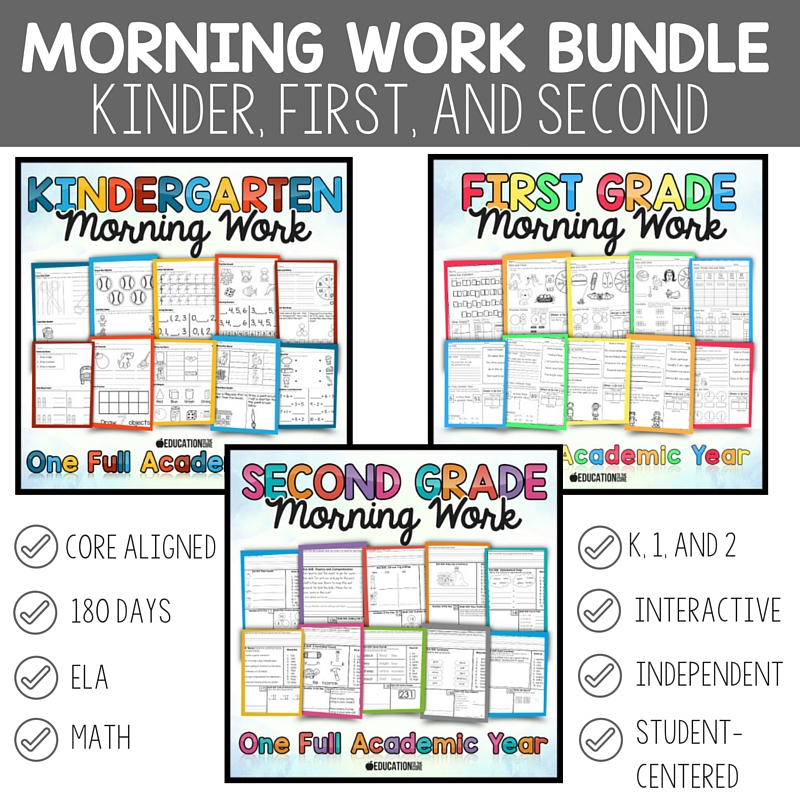 Kinder, First, and Second Grade Morning Work