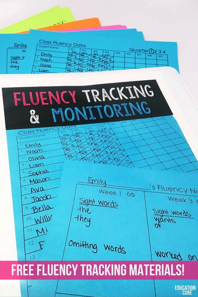 Get free fluency tracking and monitoring materials for your primary classroom!