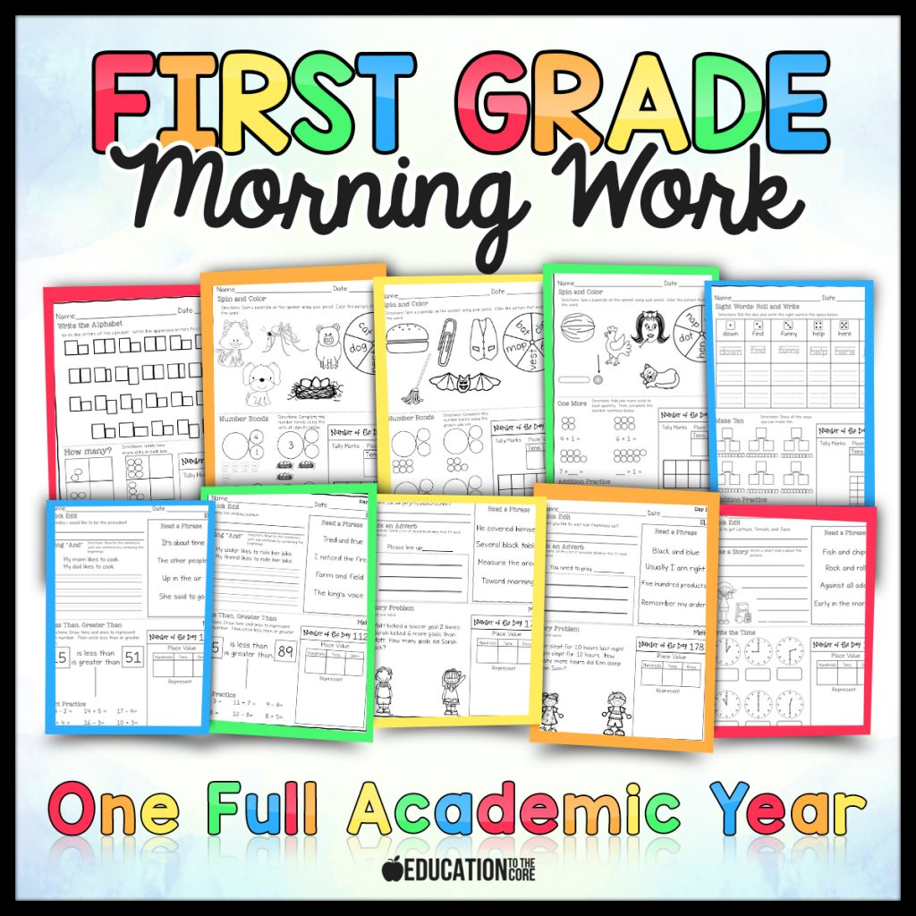 First Grade Morning Work from Education to the Core