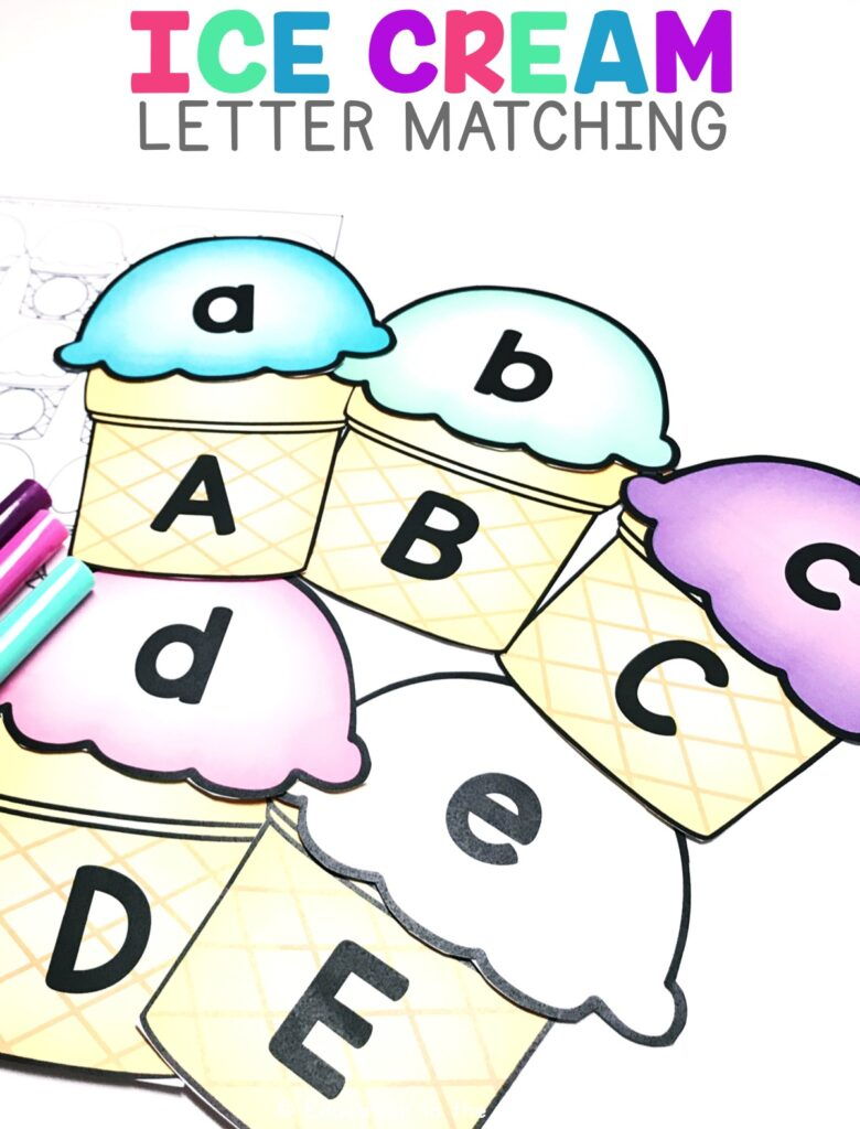 Students will get the opportunity to match upper and lowercase letters using the ice cream cones.  They can then write the letters they matched up with their accountability sheet.
