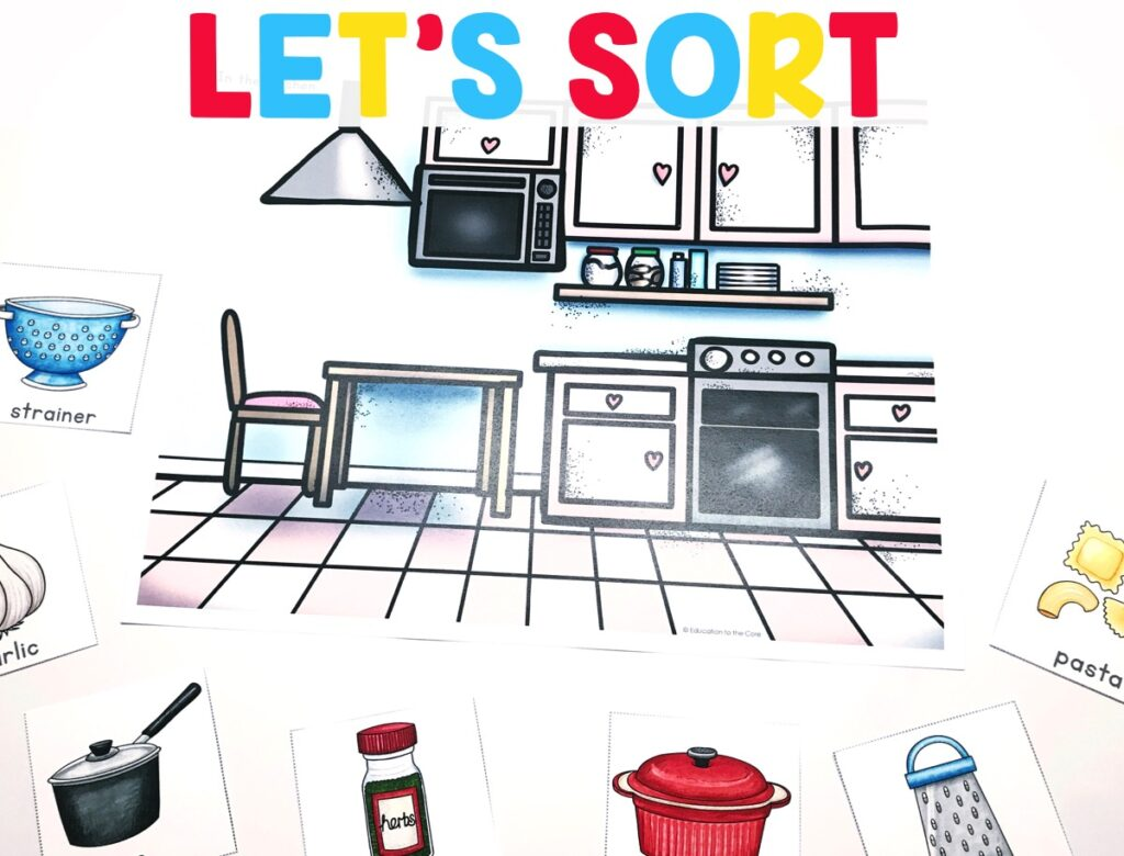 Students will be exposed to a variety of vocabulary words that belong in familiar categories/scenes including a kitchen, campground, zoo, garden, classroom, and a map.  They will be sorting those objects into categories to gain a sense of the concepts the categories represent.