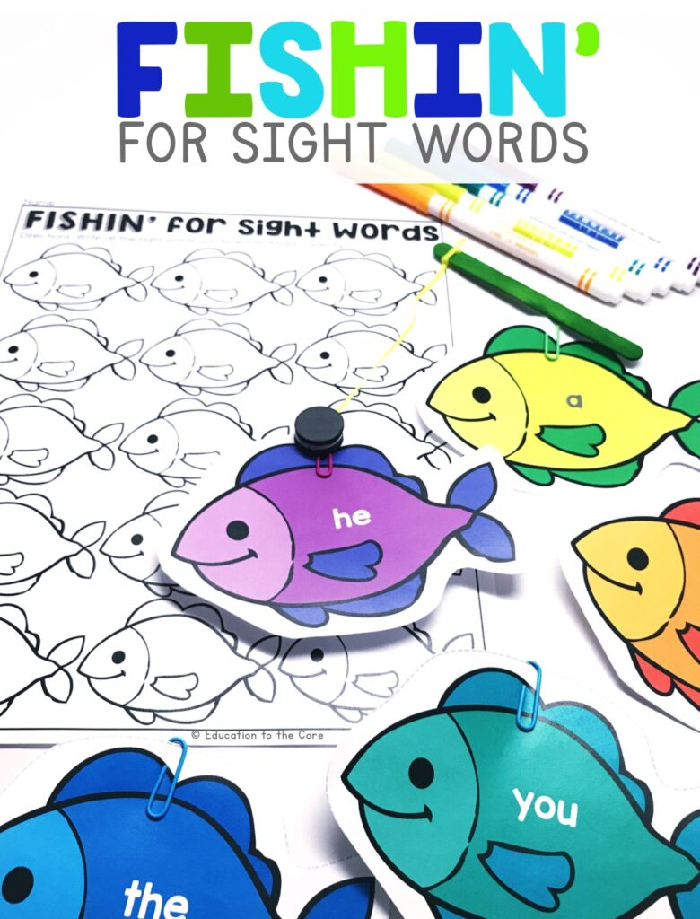 "Students will ""fish"" for irregularly spelled words that they recognize.  They will then write the words they recognized into their accountability sheet."