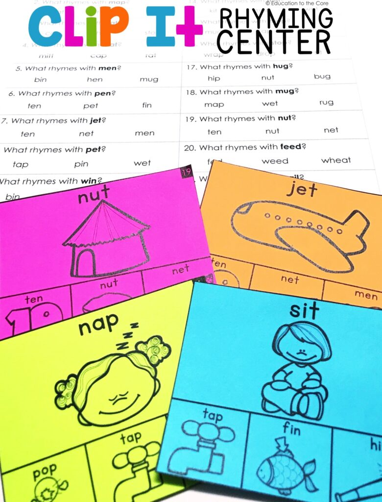 "Students will recognize and produce rhyming words by reading the picture and ""clipping"" the rhyming word on the bottom of the card."