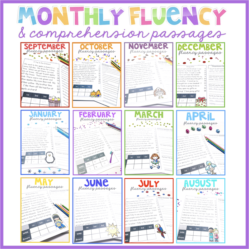 Monthly Fluency and Comprehension Passages for 1st Grade