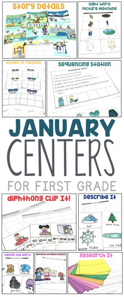 January Centers for First Grade