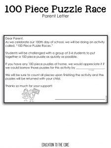 100 Piece Puzzle Race Parent Letters