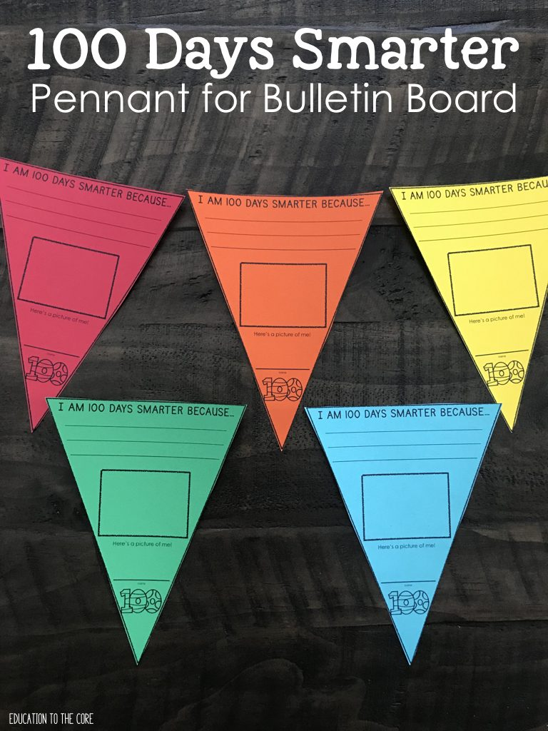 100 Days Smarter Pennant for Bulletin Board