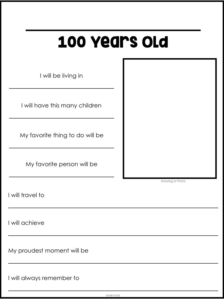100 Years Old Writing Template
