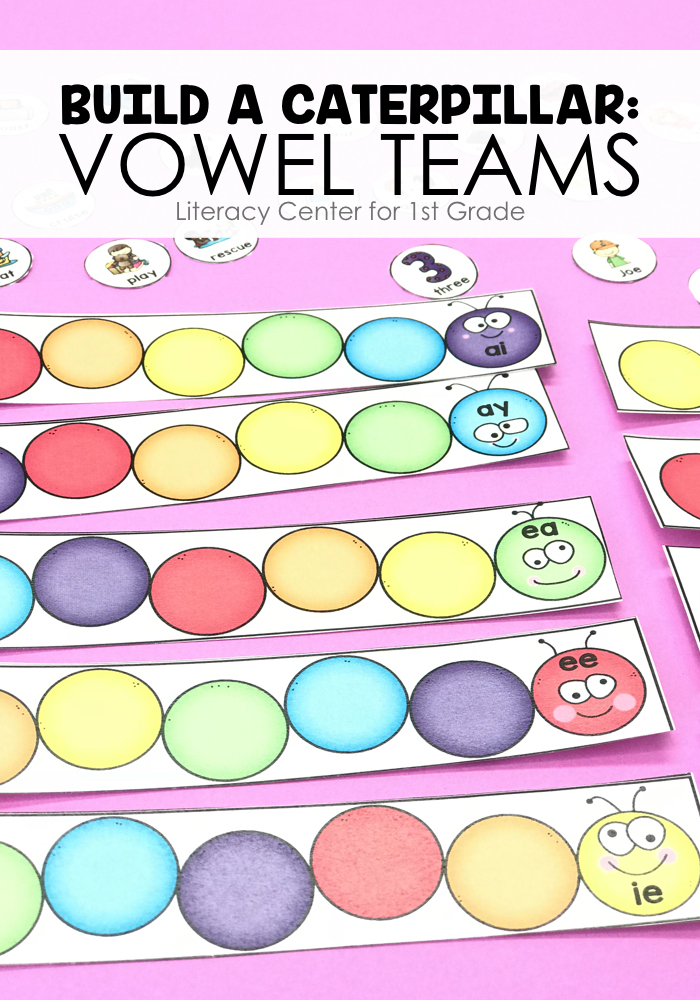 Students will match words to their vowel teams using the caterpillar mats.