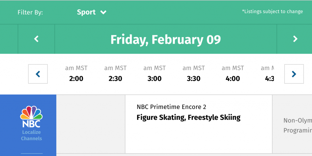 NBC Website for the Olympics