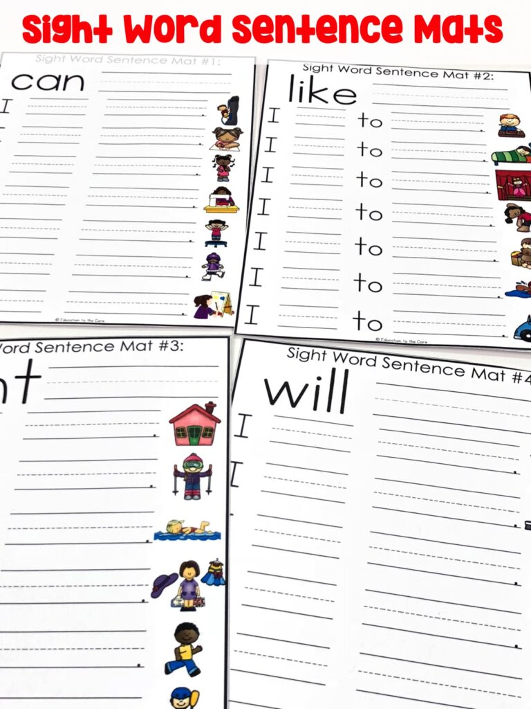 Sight Word Sentence Mats: Students will be working with sight words and repeated sentences with familiar objects.  This makes for great review with common sight words, familiar words, and sentence structure.