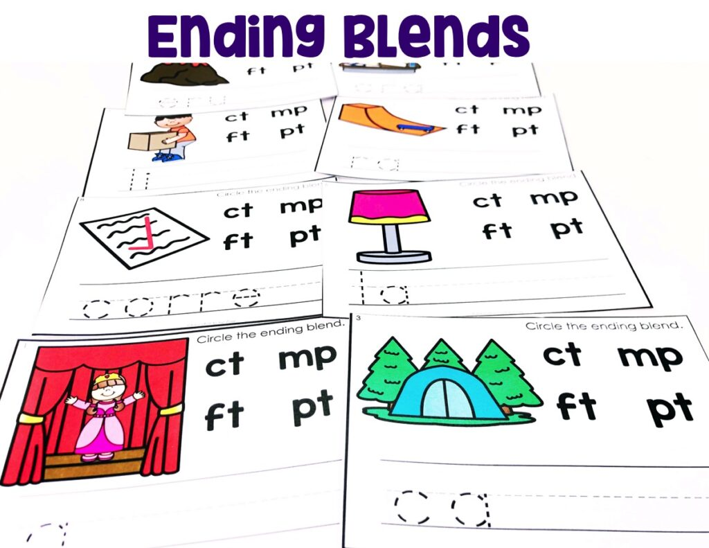 Ending Blends:  Students will look at the picture, say the words, and circle the ending blend in the word.  To take the learning further, they will write the word with the ending blend.
