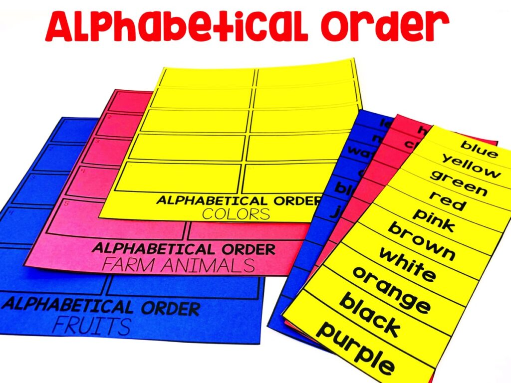 Alphabetical Order: Students will be sorting through different categories of words.  Just print on colored paper to make sure all your pieces don't get mixed up:)