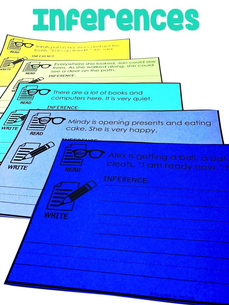 Students will be reading the sentences and making an inference based on the sentence on the inference mat.