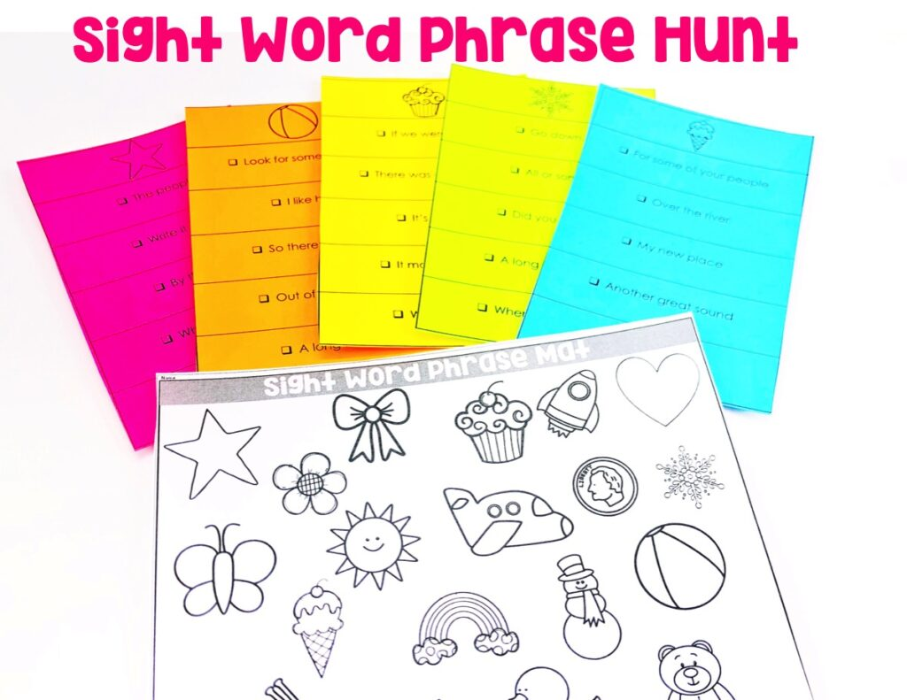 Students will be reading each phrase card. When they read each phrase on the card correctly, they can color the corresponding object on their accountability sheet.