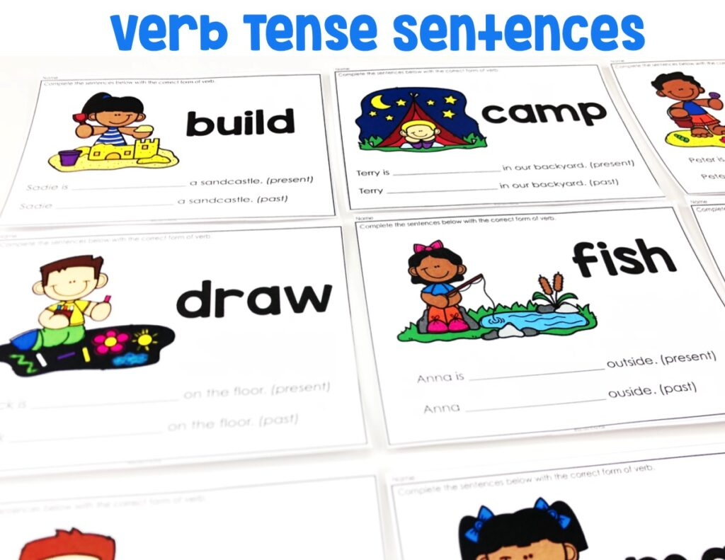 Students will be conjugating verbs in the present and past using the sentences provided on the task cards.