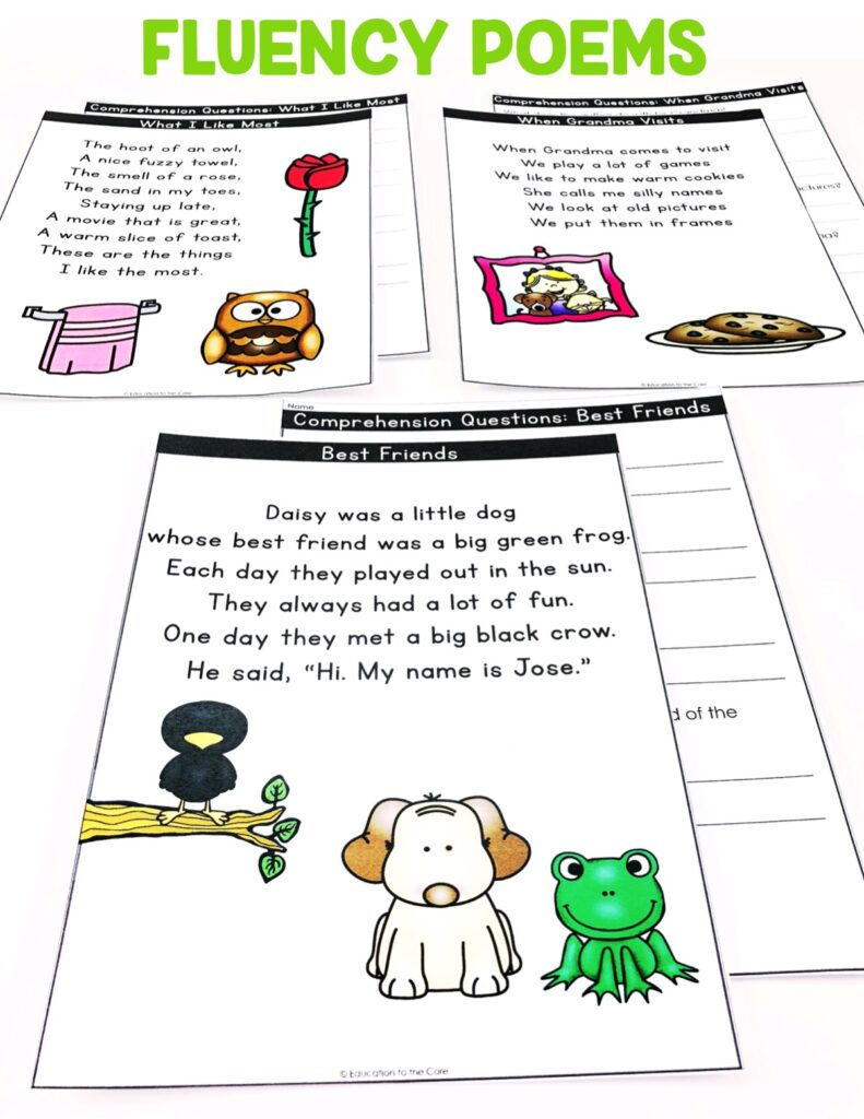 Students will be reading the 1st grade fluency poems and answering comprehension questions about each poem.