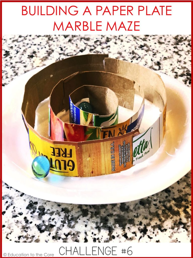 Can you build a marble maze using a paper plate? Try sticking on items for the marble to go under and around.