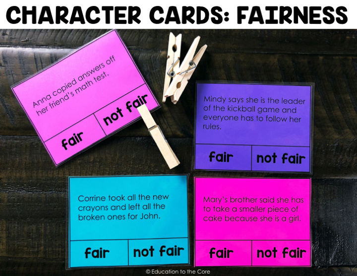 Students will read the Character Clip Card sentence and decide if it is fair or not fair.