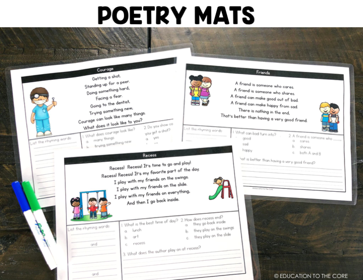 Students will read the poetry passages and answer questions based on the passage.