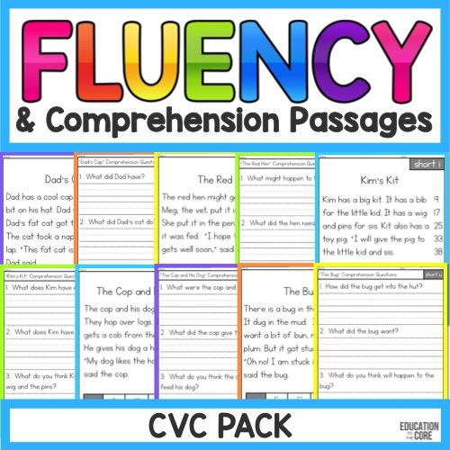 Phonics Fluency and Comprehension Passages - CVC Freebie